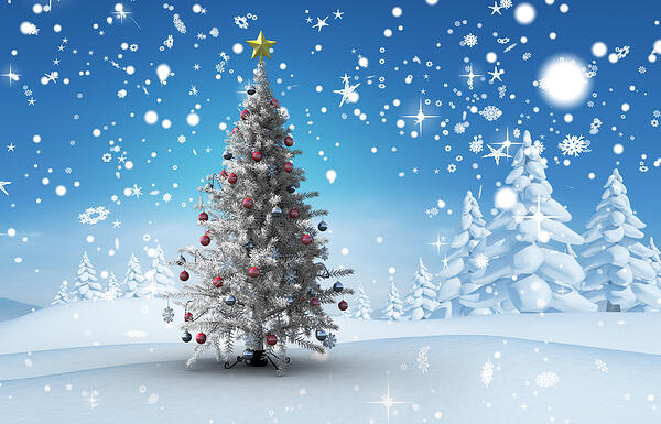 Christmas tree against snowy landscape with fir trees
